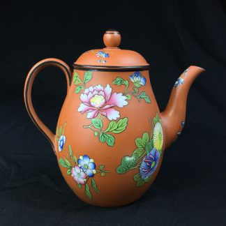 Wedgwood 'Rosso antico' small teapot, oriental flowers, c.1820 -0