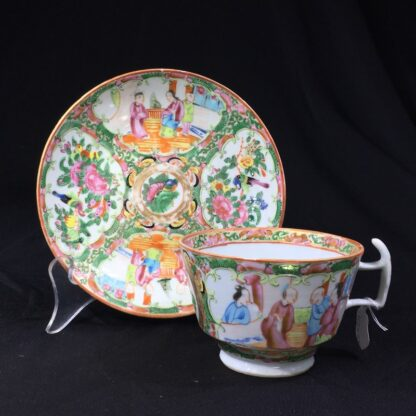 Cantonese (Chinese) Rose Medallion cup & saucer, London shape c.1860-28318