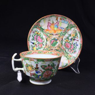 Cantonese (Chinese) Rose Medallion cup & saucer, London shape c.1860-0