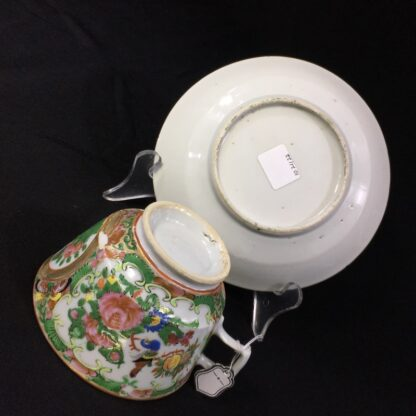 Cantonese (Chinese) Rose Medallion cup & saucer, London shape c.1860-28316