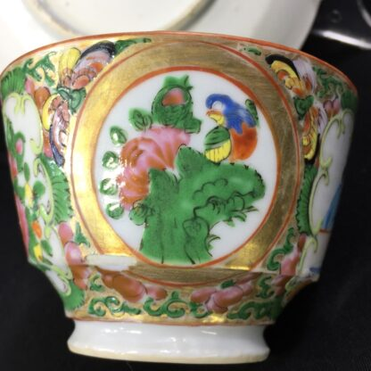 Cantonese (Chinese) Rose Medallion cup & saucer, London shape c.1860-28321