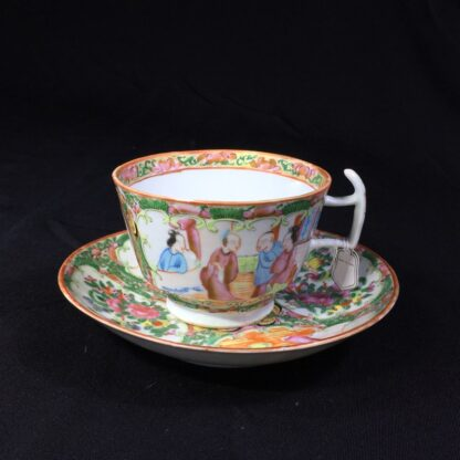Cantonese (Chinese) 'Rose Medallion' cup & saucer, London shape c.1860-28310