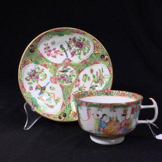 Cantonese (Chinese) 'Rose Medallion' cup & saucer, London shape c.1860-0