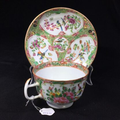 Cantonese (Chinese) 'Rose Medallion' cup & saucer, London shape c.1860-28311