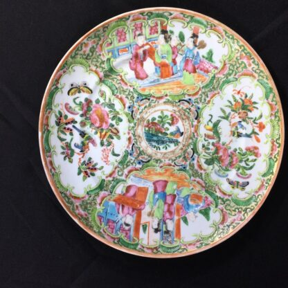 Canotonese (Chinese) 'Rose Medallion' plate, figures & flowers, c.1870 -0