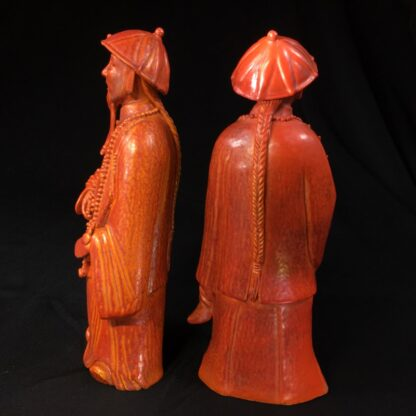 Pair of Chinese figures in coral red glaze, Qing Dynasty 19th century-28450