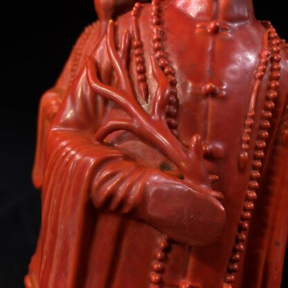 Pair of Chinese figures in coral red glaze, Qing Dynasty 19th century-28455