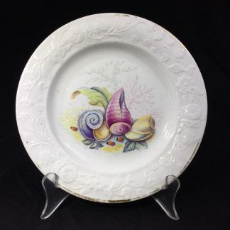 Swansea porcleain plate, flower moulded, shell painting probably Pardoe, c. 1820 -0