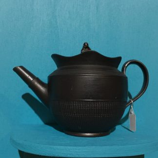 English black basalt miniature teapot, engine turned & widow finial, early 19th century-0