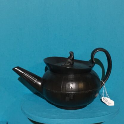 Black basalt teapot, engine turned with widow knop, c. 1810 -28405