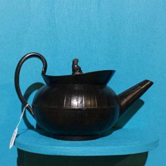 Black basalt teapot, engine turned with widow knop, c. 1810 -0