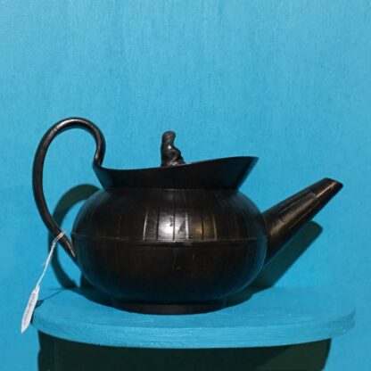 Black basalt teapot, engine turned with widow knop, c. 1810 -0