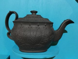 English black basalt teapot, flowerhead moulding, c. 1820 -0