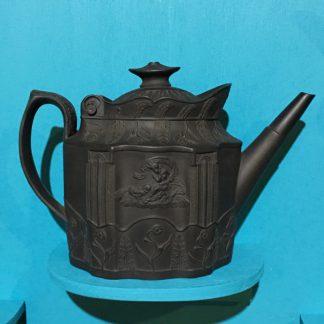 Leeds black basalt teapot, classical figures, C.1810-0