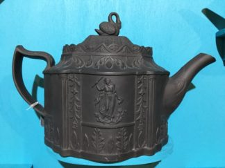 Black basalt teapot, classical sprigs & swan finial, c. 1810 -0