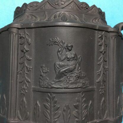 Black basalt teapot, classical sprigs & swan finial, c. 1810 -28359