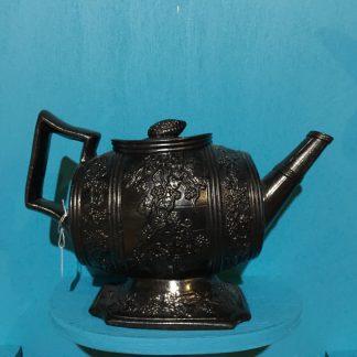 Glazed black basalt teapot in the form of a barrel, c. 1820 -0