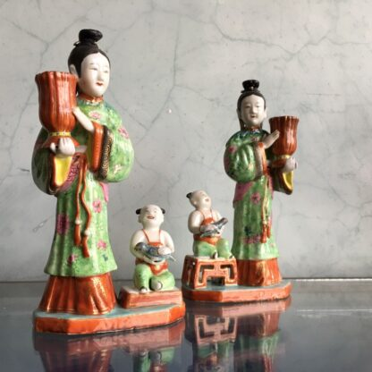 Pair of Rare Chinese candlestick figures, Ladies Children & Birds, c. 1780,-28271