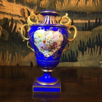 Minton porcelain vase, matt blue ground with flowers, c.1830-28653