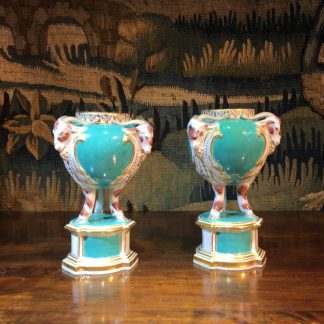 Pair of Chelsea Gold Anchor tripod vases, goats head & hoof, turquoise ground, c. 1765 -0
