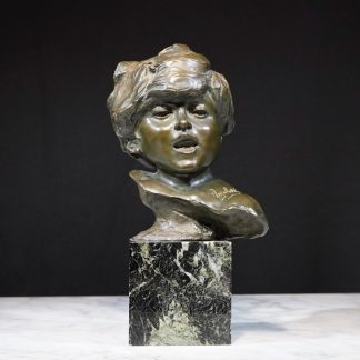 French Bronze bust of a child. Signed Injalbert,