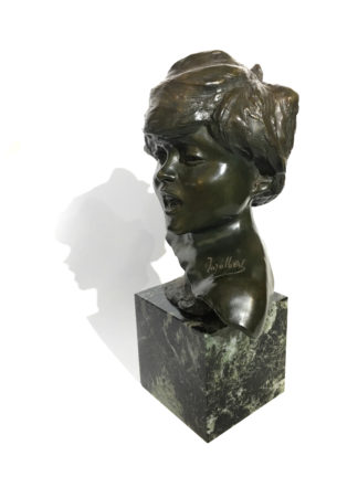 French bronze bust of a child, by J.A. Injalbert, Paris, c. 1900-0