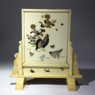 Japanese Shibayama ivory table screen, chickens & insects, 19th century-0