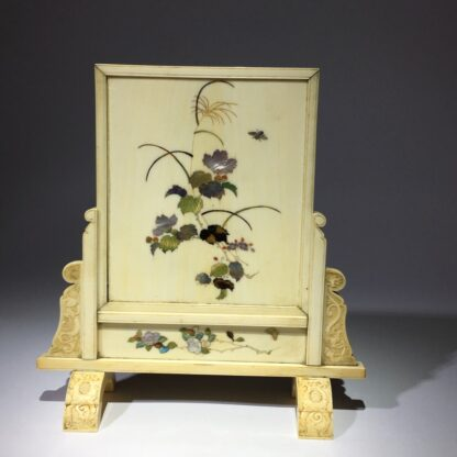 Japanese Shibayama ivory table screen, chickens & insects, 19th century-29063
