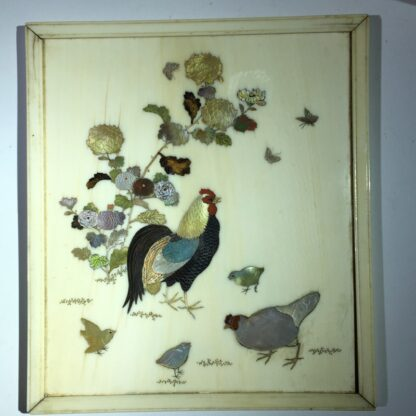Japanese Shibayama ivory table screen, chickens & insects, 19th century-29064
