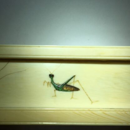 Japanese Shibayama ivory table screen, chickens & insects, 19th century-29069