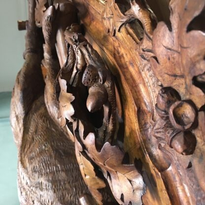 Pair of Swiss 'Black Forest' carved panels, chamois deer & hunting trophies, c.1880 -29116