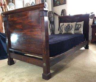 French Mahogany Empire single bed, c. 1820-0