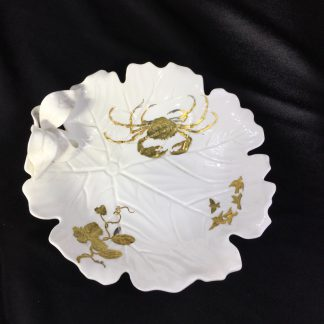 Minton bone china 'leaf bowl', platinum & gold crab & flower, c. 1880-0
