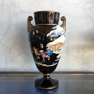 Dudson black glaze Chinoiserie vase, EUTERPE pattern c. 1875-0