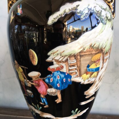 Dudson black glaze Chinoiserie vase, EUTERPE pattern c. 1875-28502