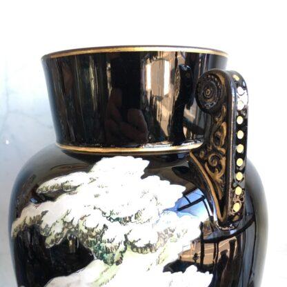 Dudson black glaze Chinoiserie vase, EUTERPE pattern c. 1875-28500