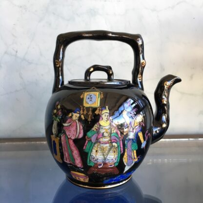 Dudson black tea kettle with colourful Chinoiseries, Euterpe pattern, c1875-28497