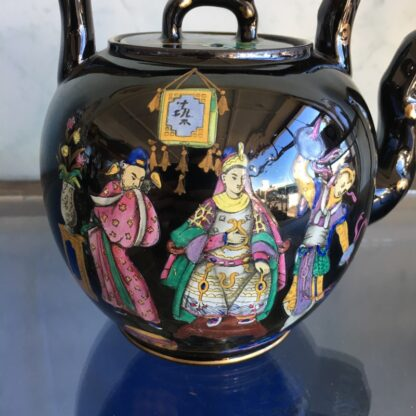 Dudson black tea kettle with colourful Chinoiseries, Euterpe pattern, c1875-28498