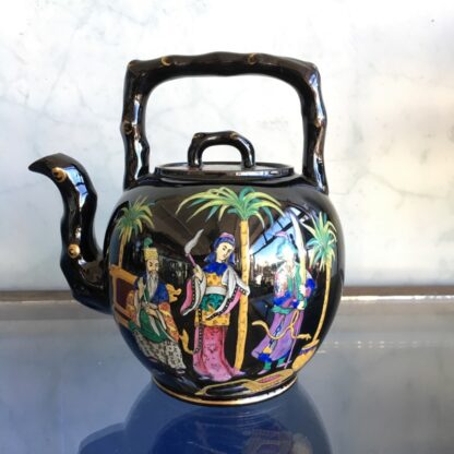 Dudson black tea kettle with colourful Chinoiseries, Euterpe pattern, c1875-0