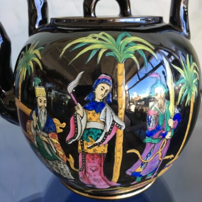 Dudson black tea kettle with colourful Chinoiseries, Euterpe pattern, c1875-28495