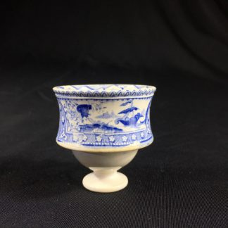 Staffordshire Pottery egg cup, flowers & fantastical ship print, c. 1830 -0