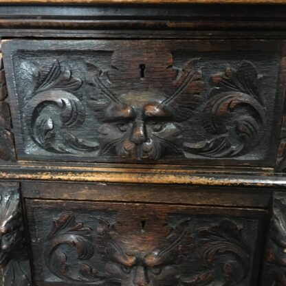 English oak desk with heavy 'Elizabethan' carving, c. 1870 -28528
