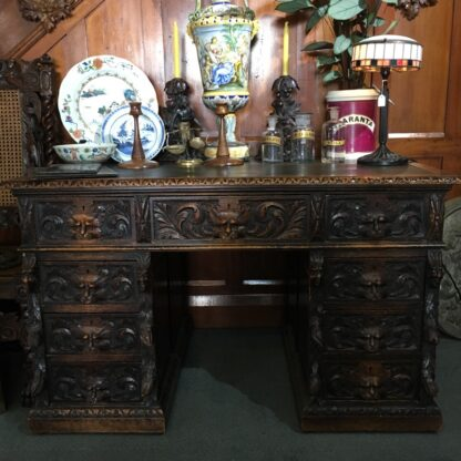 English oak desk with heavy 'Elizabethan' carving, c. 1870 -28529