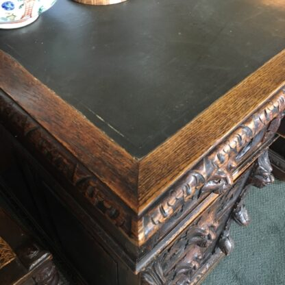 English oak desk with heavy 'Elizabethan' carving, c. 1870 -28527