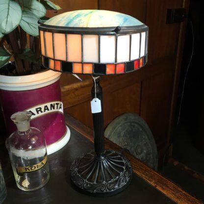 Original French bronzed & leadlight glass table lamp, c. 1920 -0