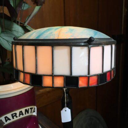 Original French bronzed & leadlight glass table lamp, c. 1920 -28534