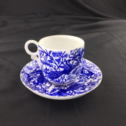 Royal Crown Derby cup and saucer , blue peacocks, dated 1877-1890-0