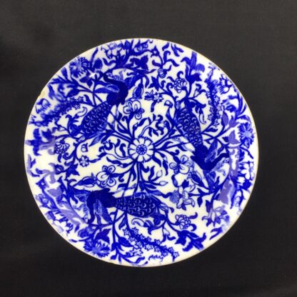 Royal Crown Derby cup and saucer , blue peacocks, dated 1877-1890-28636