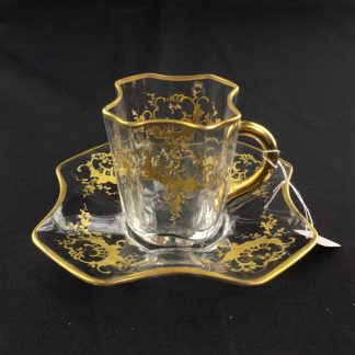 Small Moser glass cup & saucer, gilt enamel, c. 1890-0