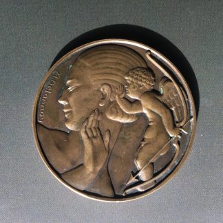 Art Deco bronze medallion by Delannoy, Venus, mid 20th century -0